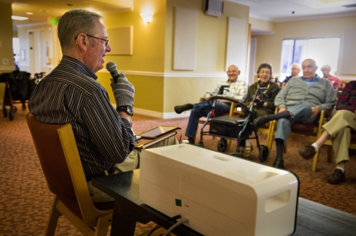Brian McKibben leads a Musical Memories program at The Grove, ABHOW's memory support program.